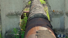 abandoned rusty iron pipes construction - stock footage