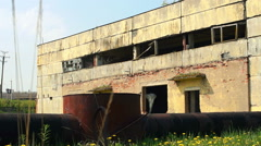 facade of the ruined building - stock footage