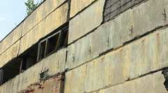 Facade of the ruined building Stock Footage