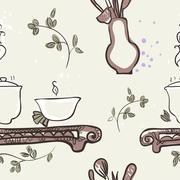 Seamless Texture Tea Ceremony Stock Illustration