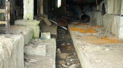 Abandoned rusty iron pipes construction Stock Footage