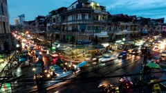 TIMELAPSE Busy crossroad with traffic in evening,Phnom Penh,Cambodia Stock Footage