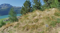 Switzerland Mountain Lake With Green Fields Stock Footage
