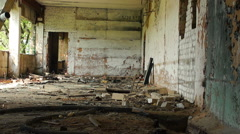very old broken brick wall, old ruined room, abandoned building - stock footage