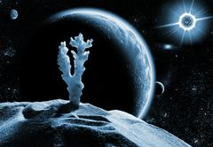 Dead planet in space - stock photo
