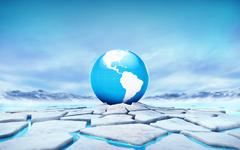 America earth globe in the middle of ice floe cracked hole - stock illustration