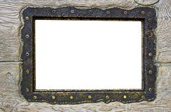 Blank frame on obsolete wood background Stock Photos