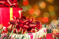 Holiday gifts and blurred lights - stock photo