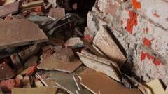 demolished Red brick wall - stock footage