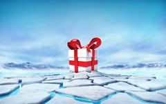 Gift box in the middle of ice floe cracked hole Stock Illustration