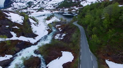 Ryfylke mountain road, aerial footage Stock Footage