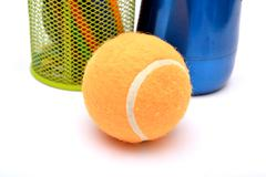 Tennis ball with stationery background Stock Photos