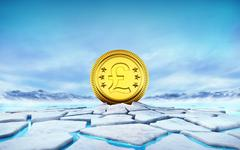Golden Pound coin in the middle of ice floe cracked hole Stock Illustration