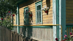 old wooden house, beautiful colors, large Windows - stock footage