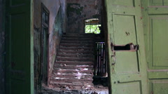 Old ruined staircase Stock Footage