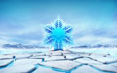 big snowflake in the middle of ice floe cracked hole - stock illustration