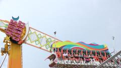 Pendulum Carnival Ride Close Up Stock Footage