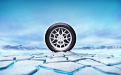 winter tire in the middle of ice floe cracked hole - stock illustration