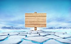 empty wooden desk in the middle of ice floe cracked hole - stock illustration