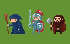 Pixel art style illustration wizard, knight and dwarf - stock illustration
