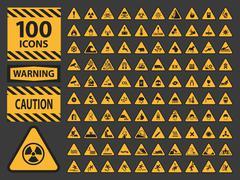 Vector icn set triangle yellow warning caution hazard signs - stock illustration