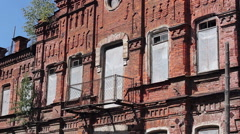 old red building with large Windows - stock footage