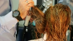Slow Motion Hairdresser Cutting Hair Stock Footage