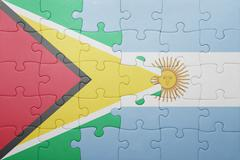 puzzle with the national flag of argentina and guyana - stock photo