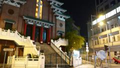 St Mary's Church in HongKong, slide shot in night time - stock footage