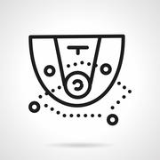 Black simple line basketball tactic vector icon - stock illustration