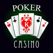 Poker game icon with four aces and king cards Stock Illustration