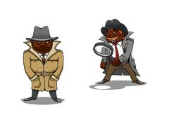 Cartoon detective and spy with magnifier Piirros