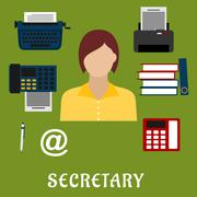 Stock Illustration of Secretary or assistant profession flat icons