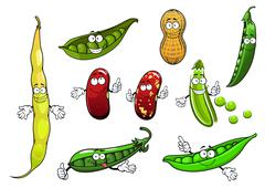 Cartoon isolated peas, beans and peanut Stock Illustration