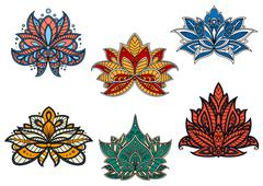 Indian and persian ethnic paisley flowers Piirros
