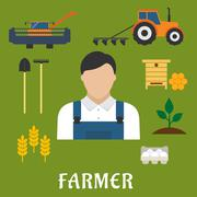Stock Illustration of Farmer profession and agriculture flat icons