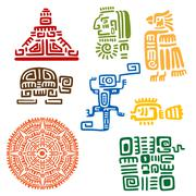 Ancient mayan and aztec totems or signs - stock illustration