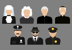 Stock Illustration of Policemen, judges, priests and detective avatars