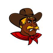 Cartoon moustached cowboy with leather hat Stock Illustration