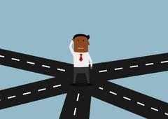 Businessman standing and thinking on crossroad - stock illustration