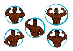 Cartoon posing bodybuilders and athletes Stock Illustration