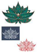 Stock Illustration of Green indian lotus flower with ornament
