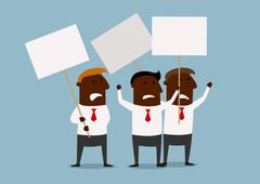 Group of businessmen protesting with placards - stock illustration