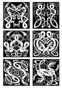 Celtic knot patterns with tribal dragons - stock illustration