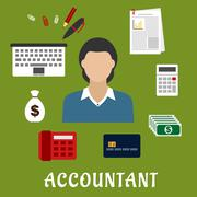 Accountant profession and objects flat icons Stock Illustration