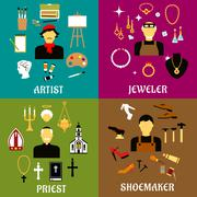 Jeweler, shoemaker, artist and priest professions - stock illustration