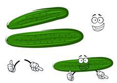 Cartoon crunchy green cucumber vegetable - stock illustration