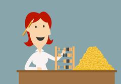 Businesswoman counting gold coins with abacus Stock Illustration