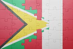 puzzle with the national flag of peru and guyana - stock photo