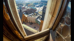 Top view from St. Mary's Basilica tower in Krakow Stock Footage
